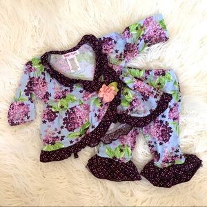 Baby girl ruffle hydrangea floral two piece set